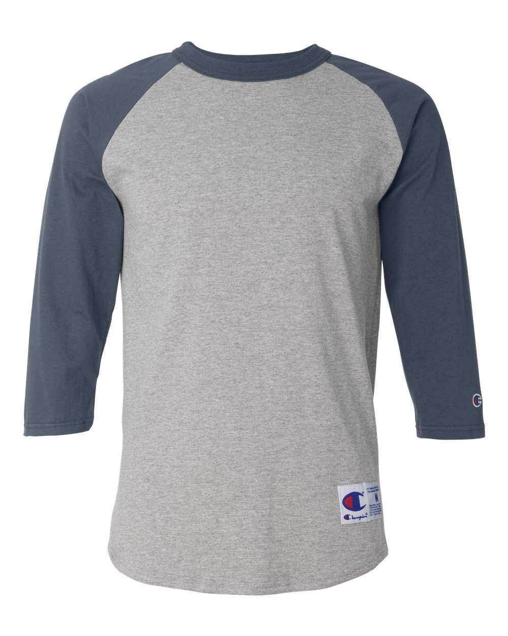 Champion T137 Raglan Baseball T Shirt Needen Usa Kaos Polos Grey Solid