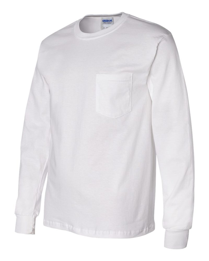 new photos low price sale elegant in style Gildan 2410 - Ultra Cotton™ Long Sleeve T-Shirt with a Pocket