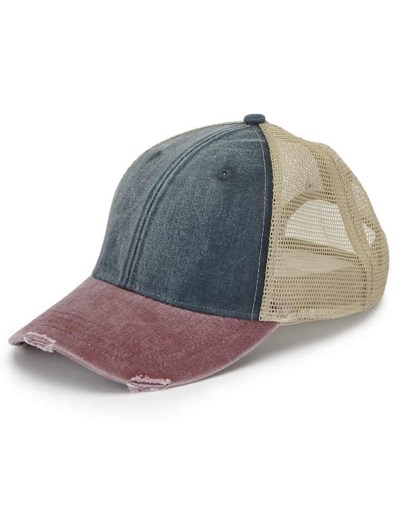 dd8bff0e5 Adams OL102 - 6-Panel Pigment-Dyed Distressed Trucker Cap | Needen USA