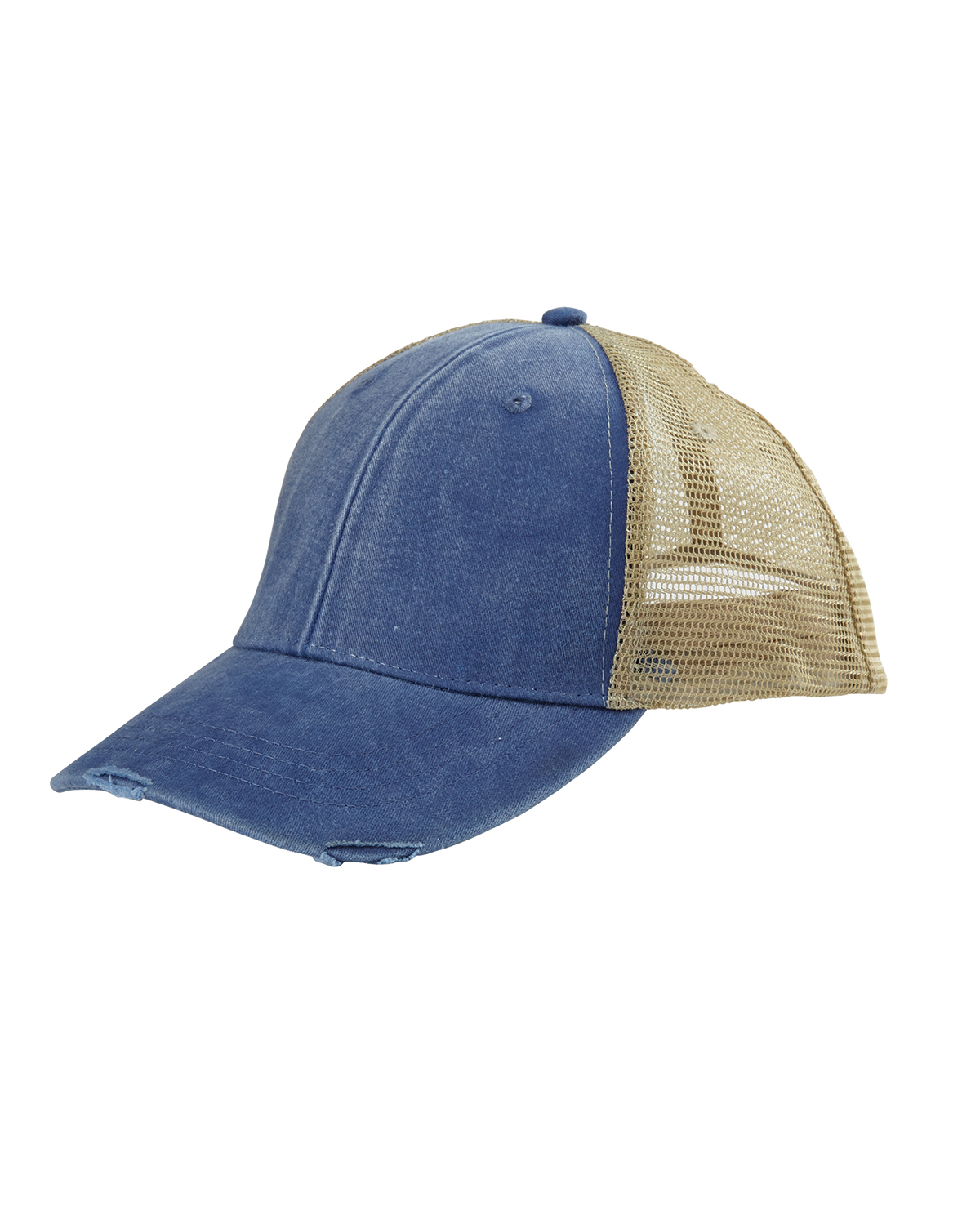 c5872282d Adams OL102 - 6-Panel Pigment-Dyed Distressed Trucker Cap | Needen USA