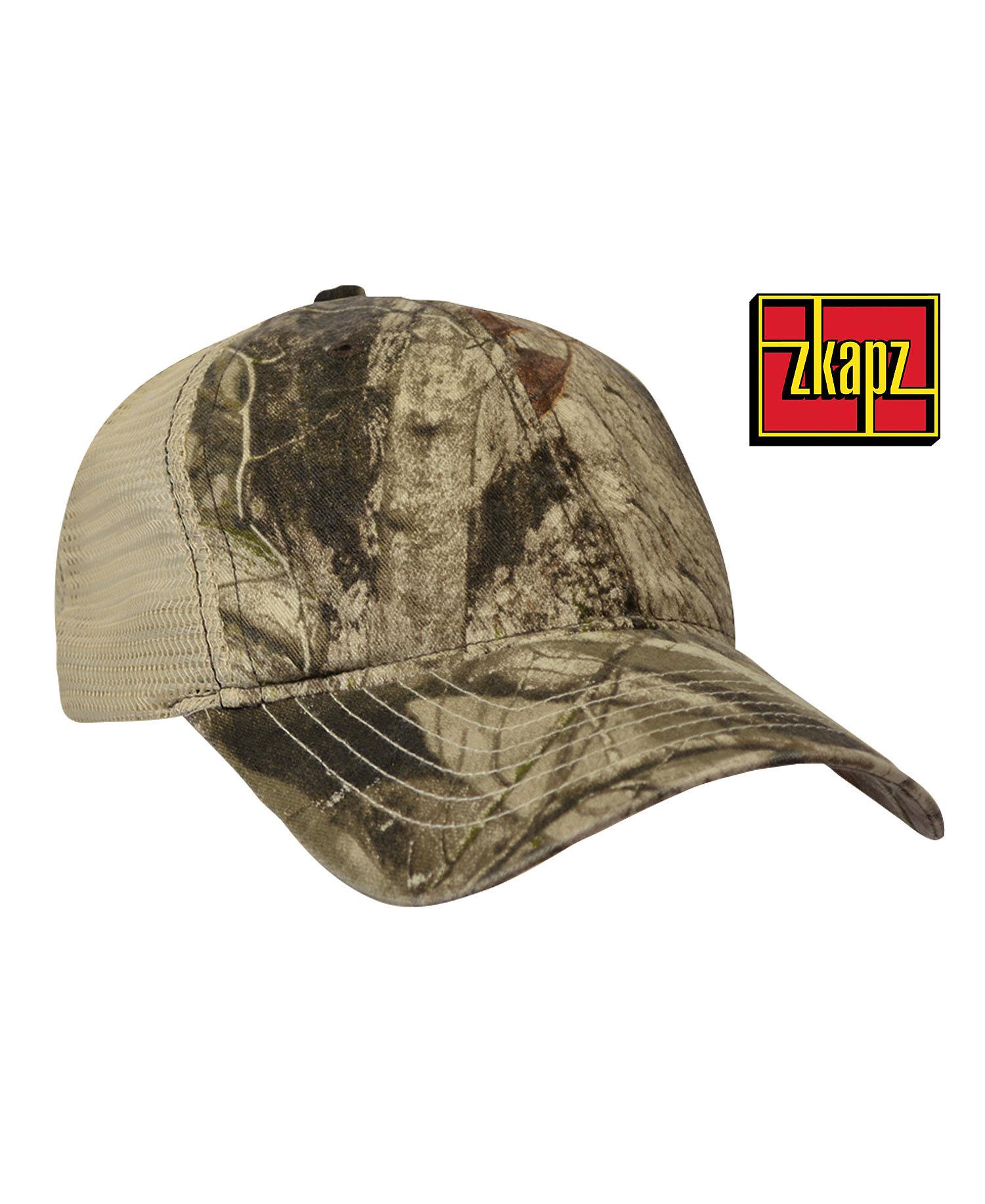 6475ff7608f KC Caps ZK641 - ZKAPZ Bio-Washed Cotton Trucker Cap With Soft Mesh Back
