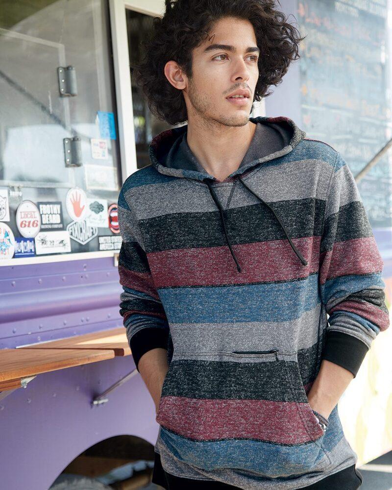 Burnside B8603 - Printed Striped Fleece Sweatshirt