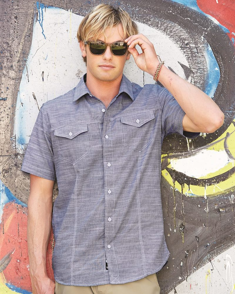 Burnside B9247 - Textured Solid Short Sleeve Shirt