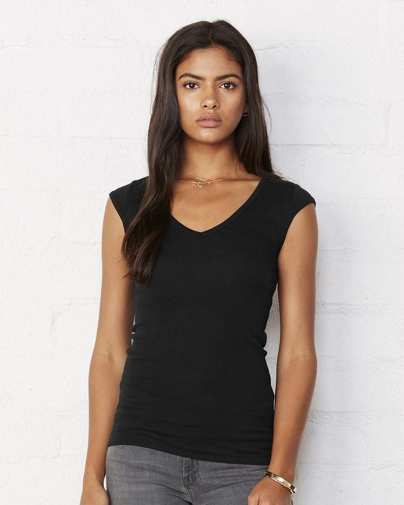 Bella+Canvas 8705 - Ladies' Sheer Mini Rib Cap Sleeve V-Neck T-Shirt