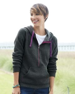 J. America 8876 - Ladies 1/2 Zip Triblend Hooded Sweatshirt