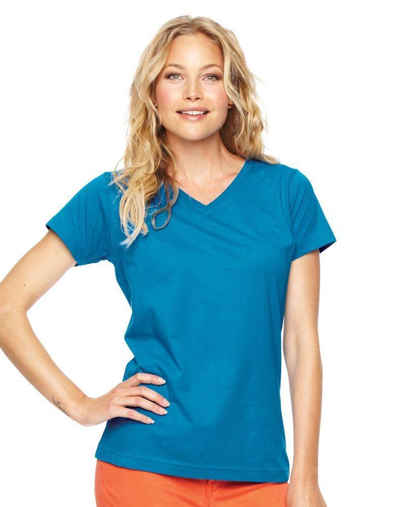 LAT 3507 - Ladies' Fine Jersey V-NeckT-Shirt