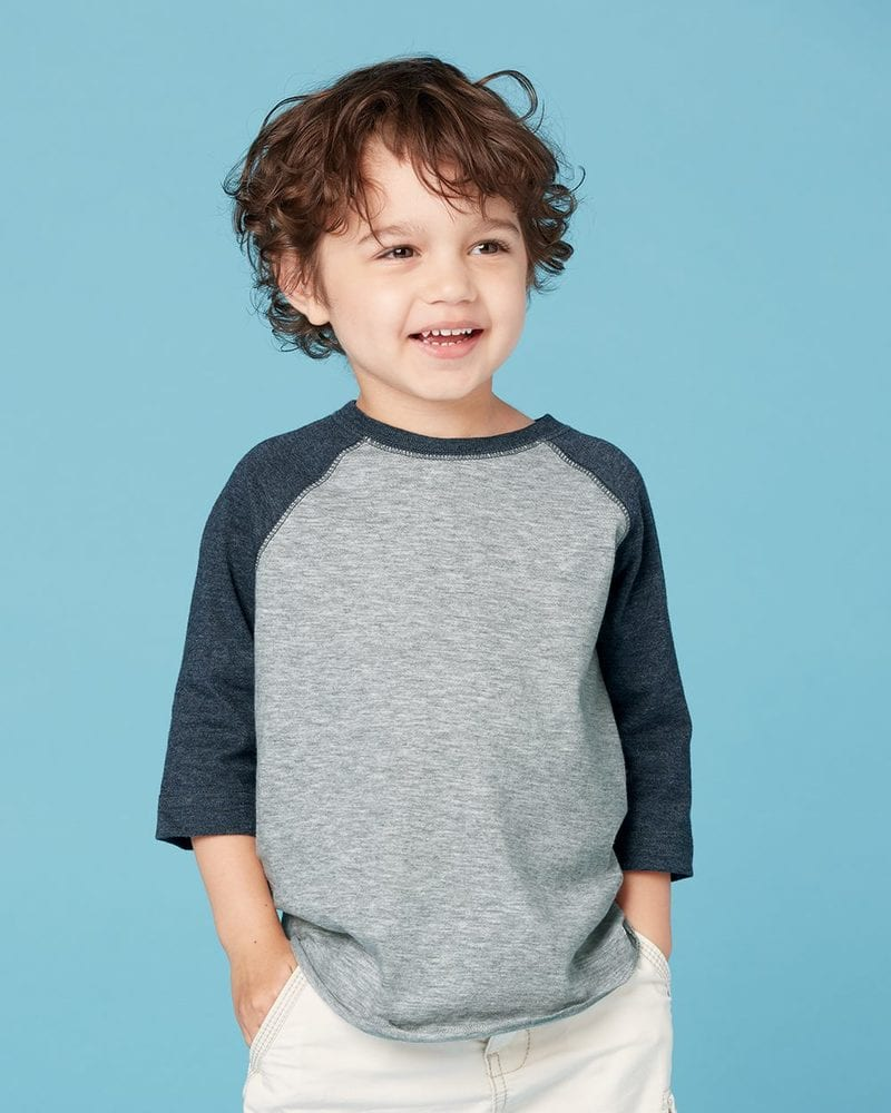 Rabbit Skins 3330 - Toddler Fine Jersey Three-Quarter Sleeve Baseball T-Shirt