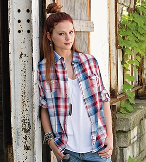 Burnside 5222 - LADIES' PLAID PATTERN WOVEN