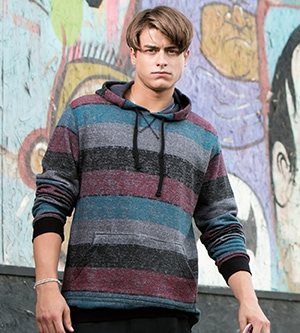 Burnside 8603 - PRINTED STRIPED MARL PULLOVER