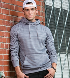 J. America J8661 - STRIPED POLY FLEECE PULLOVER HOOD