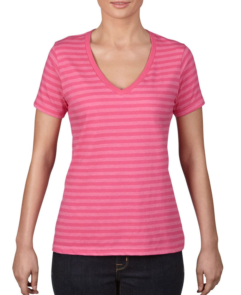 Anvil A8823 - Ladies' Lightweight Striped V-Neck Tee