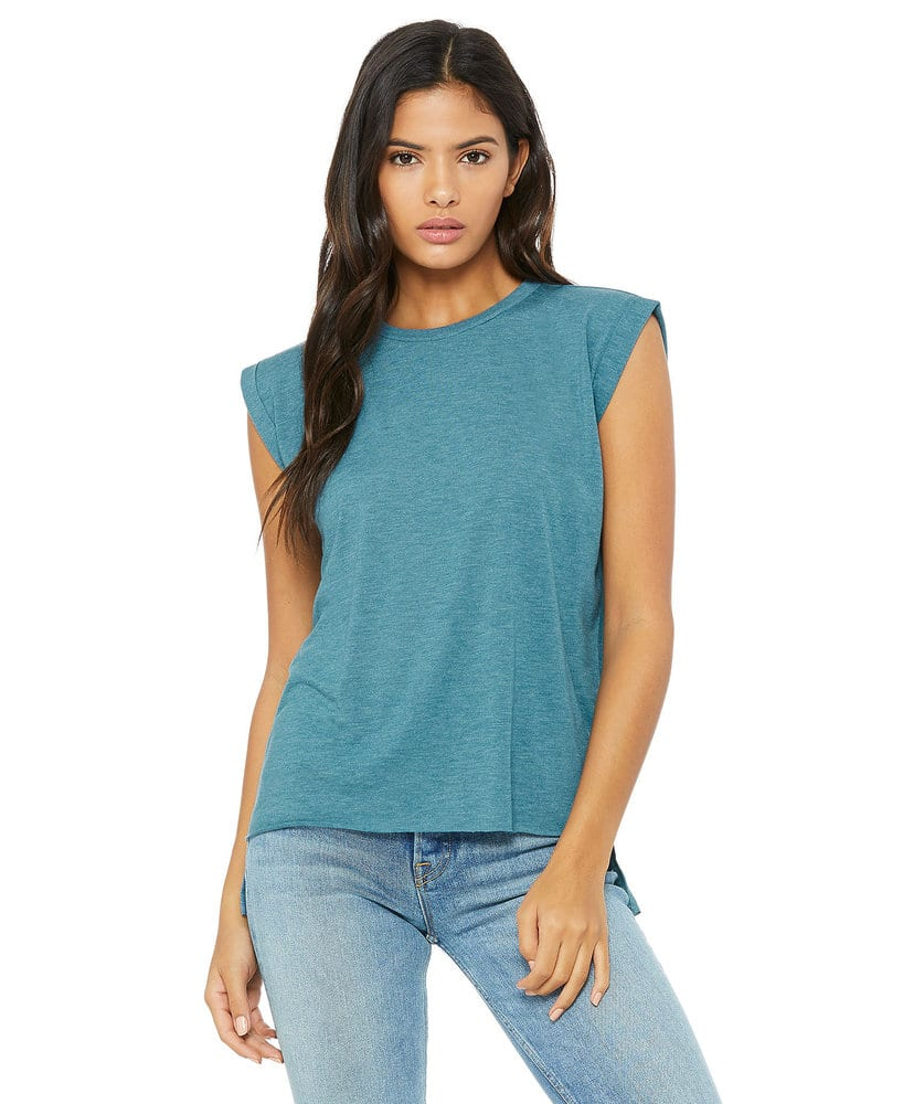 BELLA+CANVAS B8804 - Women's Flowy Muscle Tee with Rolled Cuff